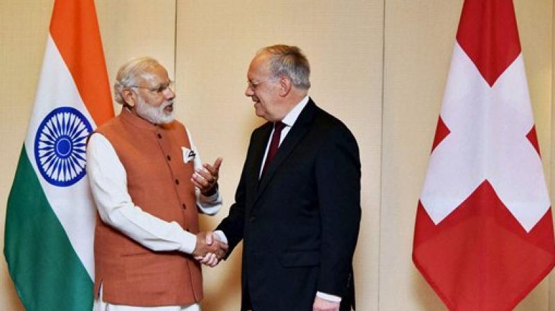 Narendra Modi with Switzerland President Johann Schneider-Ammann. (Photo: Twitter)