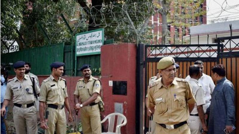 Police guard the residence of AIMIM leader Asaduddin Owaisi in New Delhi. (Photo: PTI)