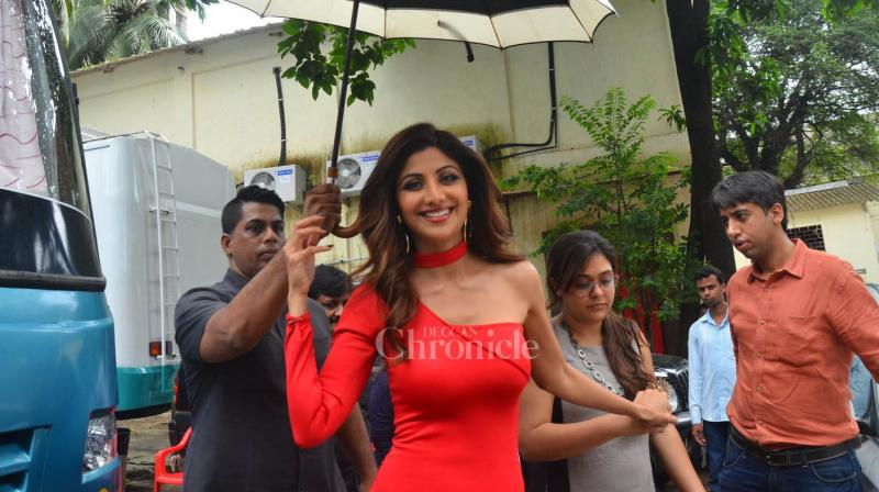 Shilpa Shetty looks hot in red dress at a television shoot