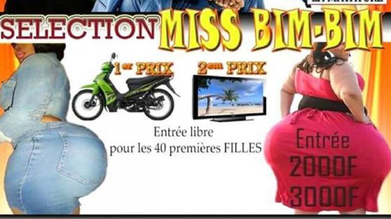Adverts for this weekend's third edition of 'Miss Bim-Bim', carrying an