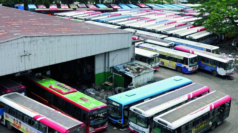Buses are parked at the bus depot during the strike called by  trade unions in Hyderabad on Friday. (Photo: DC)