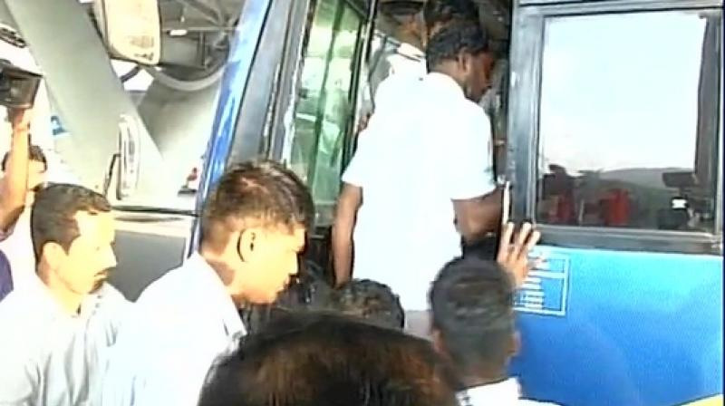 The released fishermen arrived at Chennai airport on Thursday morning. (Photo: ANI/Twitter)