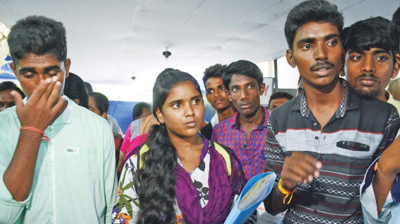 Students upset over their applications being rejected under sports quota at Anna University on Friday (Photo: DC)
