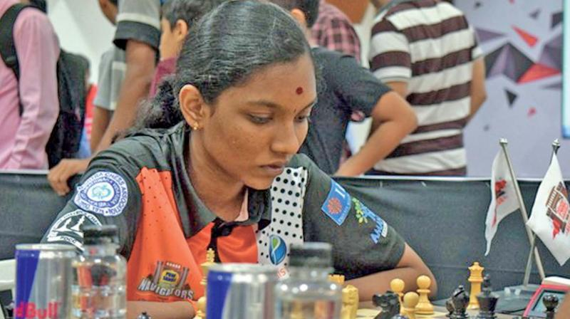Chess champ V. Varshini at a chess tournament.