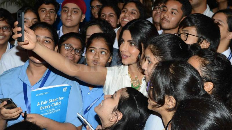 Unicef goodwill ambassador Priyanka Chopra raised the pitch for a fair start for every child in the country -- from privileged ones to the less privileged. She launched a 'Fair Start' campaign, which aims to take the right to grow and prosper to one and all in the country. Photo: Viral Bhayani
