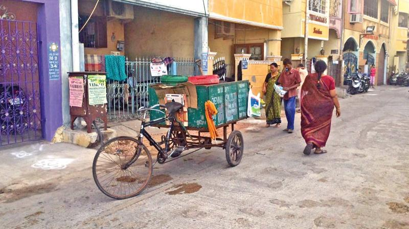 Door to door garbage collection being done at Triplicane. (Photo: DC)
