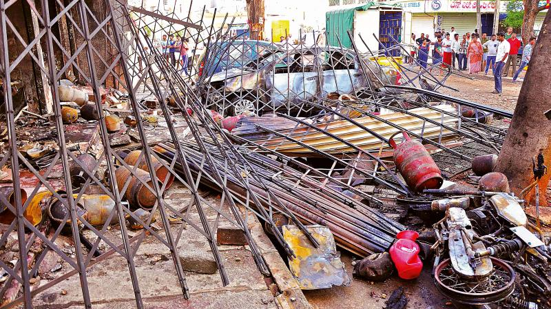 The illegal gas filing shop on Kathriguppe Main Road in Bengaluru,  where the blasts took place on Saturday (Photo: Satish B.)