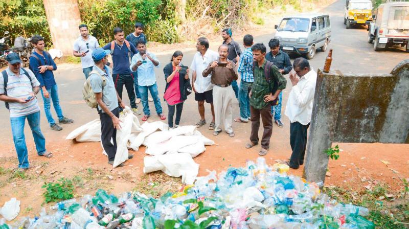 Plastic bottles and other waste collected by Sahyadri Sanchaya members in Western Ghats