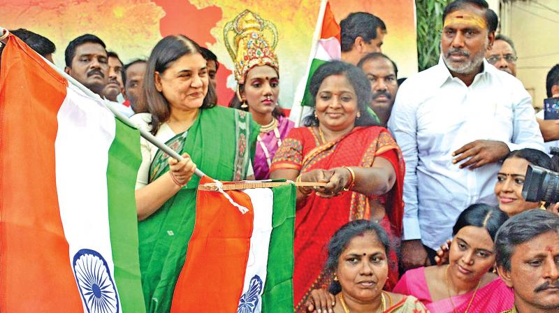 Union minister for women and child development Maneka Gandhi flags off a motorbike rally
