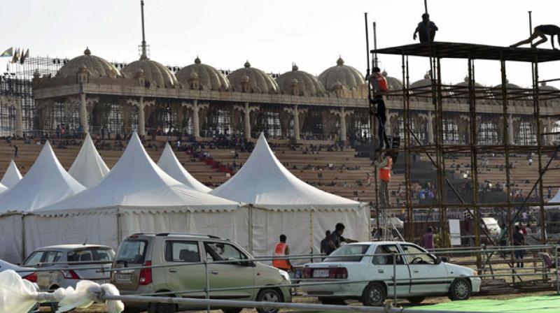 Site of World Culture festival organised by Sri Sri Ravi Shankar's Art Of Living foundation on the flood plain of Yamuna River in New Delhi. (Photo: PTI)