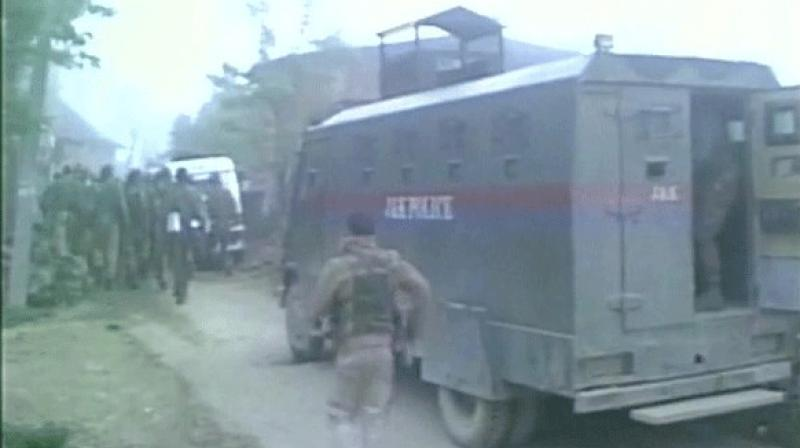 Security personnel during search operation in south Kashmir's Pulwama district. (Photo: ANI Twitter)