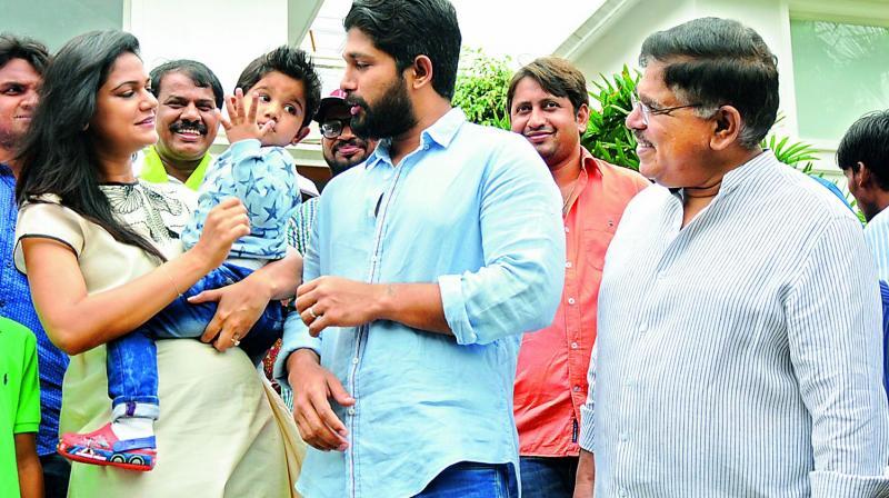 Sneha with son Ayaan and husband Allu Arjun during a Haritha Haram event