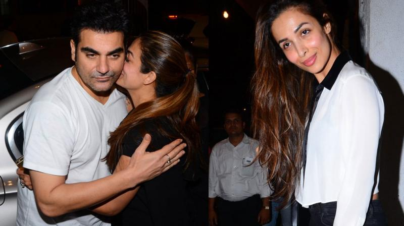 Arbaaz Khan decided to end all those nasty divorce rumours by taking his wife Malakia Arora Khan, sister-in-law Amrita Arora and mother-in-law Joyce out to dine at a plush restaurant in Bandra. Photo: Viral Bhayani