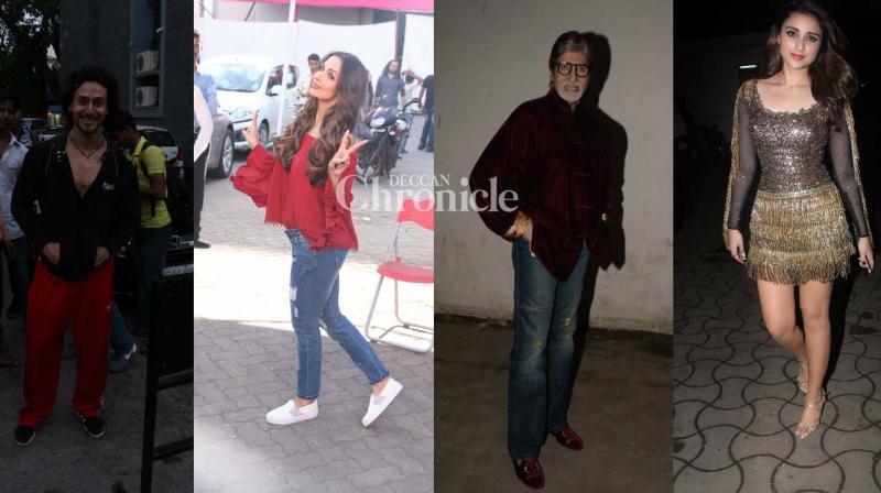 Amitabh Bachchan, his 'Pink' co-stars, Tiger Shroff, Parineeti Chopra, Malaika Arora Khan were snapped at a studio in Mumbai.