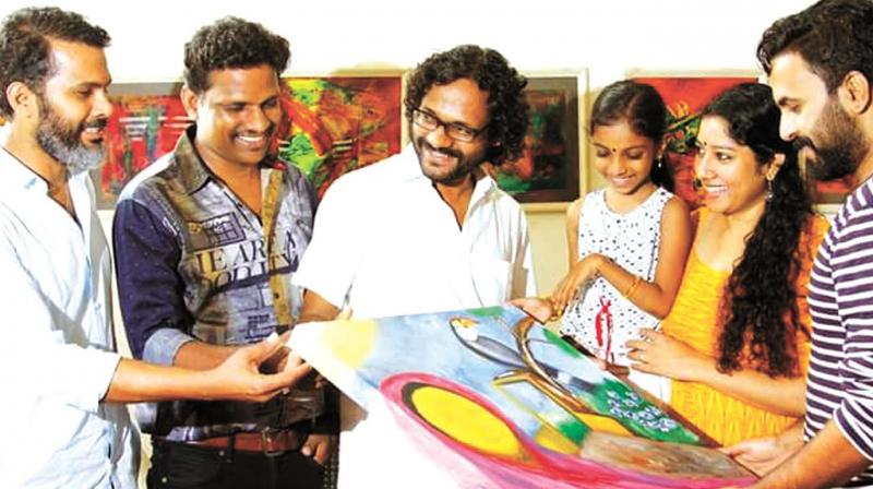 The cast and crew of T.K. Padmini's biopic at the  T.K. Padmini commemoration art camp at Nanappa Art Gallery.