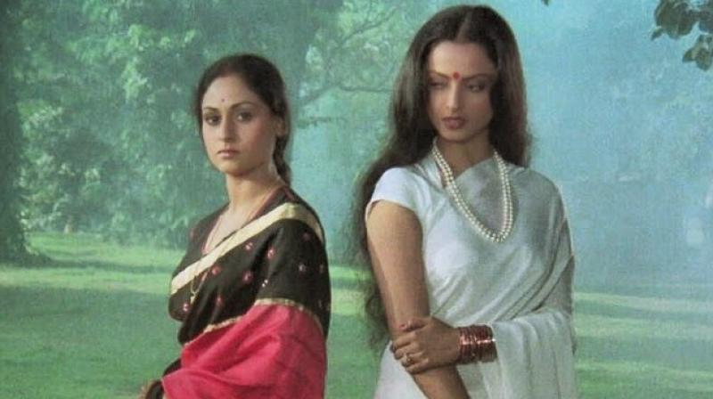 Jaya Bachchan and Rekha in a still from Silsila which also starred Amitabh Bachchan.