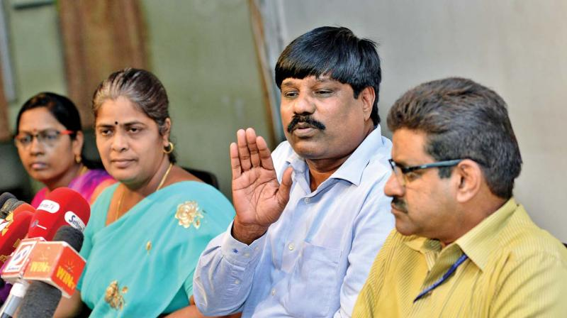 Anna University registrar S.Ganesan (second from right) addresses the press  conference on Wednesday. P.Malliga, director, entrance examinations, Indumathi, secretary, TNEA and G.Nagarajan, director, also seen (Photo: DC)