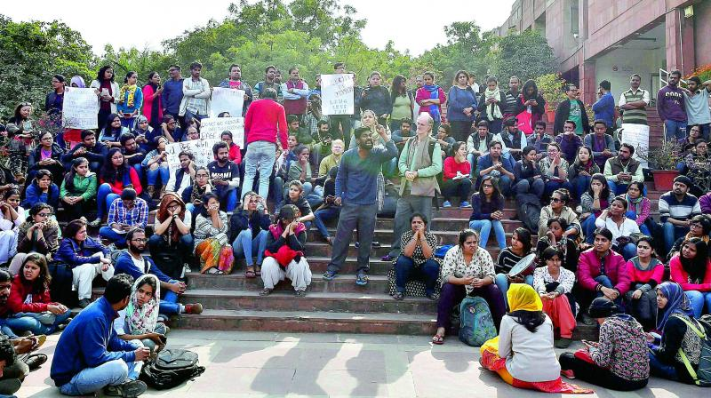 JNU students protest on the university campus against the arrest of student union president Kanhaiya Kumar. (Photo: PTI)