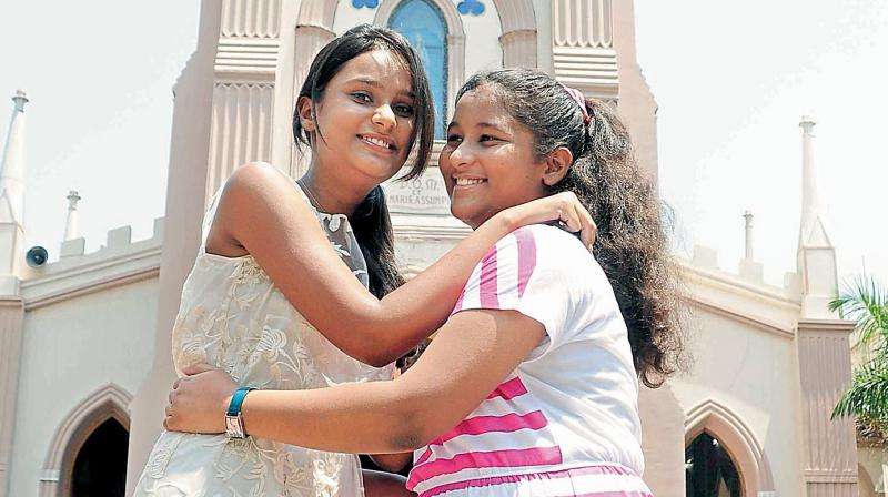 A file photo of youngsters greet each other on the ocassion of Easter at St Mary's Church, Secunderabad.