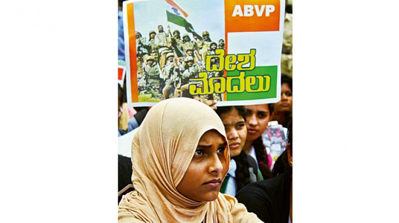 A file photo of ABVP activists protesting in Bengaluru  demanding  a ban on Amnesty International India