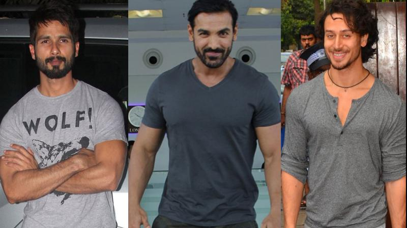 Our cameras spotted actors Shahid Kapoor, John Abraham and Tiger Shroff out and about ton on Thursday. Photo: Viral Bhayani