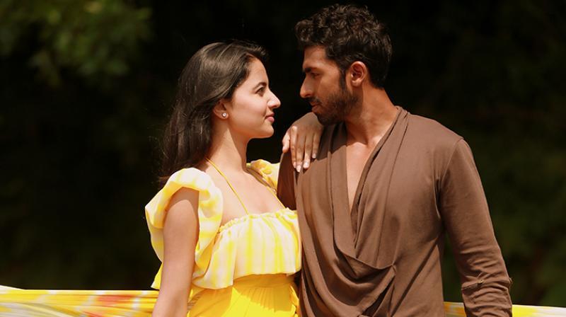 A stil from Raghu Shastri's movie starring Vinay Rajkumar and Rukshar Mir.