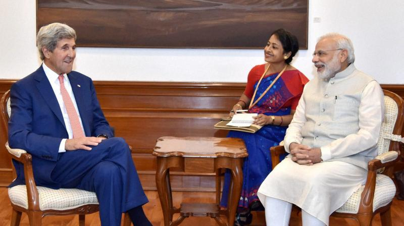 Prime Minister Narendra Modi with US Secretary of State John Kerry at a meeting in New Delhi. (Photo: PTI)
