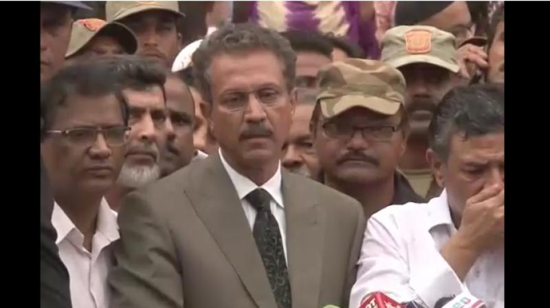 Akhtar, 60, was brought from the Central jail in heavy security and took oath along with his running mate Arshad Vohra who took oath as deputy mayor. (Photo: YouTube screenshot)