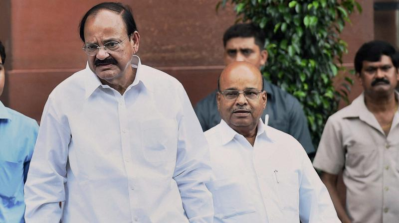 Union I&B Minister Venkaiah Naidu after a Cabinet meeting at South Block in New Delhi. (Photo: PTI)