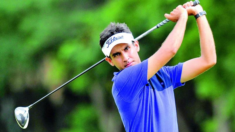 Dev Chandigarh golfer Himmat Rai hits a drive on the opening day of the fifth edition of the Louis Philippe Cup golf tournament being played at the Karnataka Golf Association in Bengaluru on Wednesday. (Photo: R. Samuel)