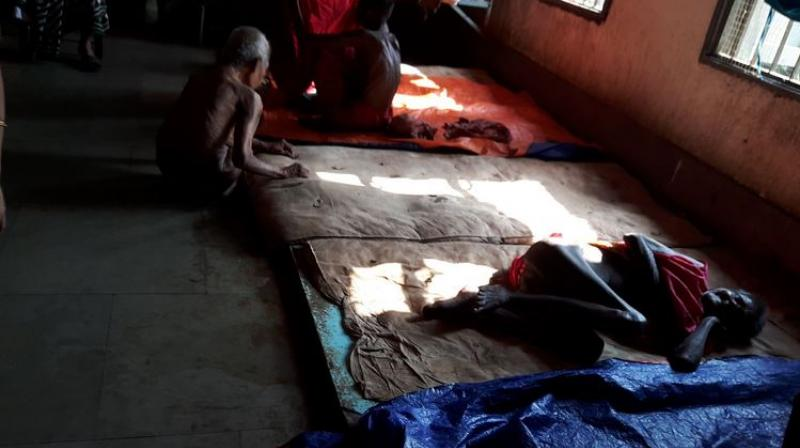 Anjali Mental Health Rights NGO posted the photos on Twitter of the thin patients living in what appear to be appalling conditions at the health facility in Baharampur. (Photo: Twitter)