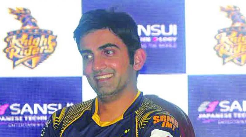 Kolkata Knight Riders captain Gautam Gambhir speaks at an event in Mumbai on Monday. (Photo: Debasish Dey)