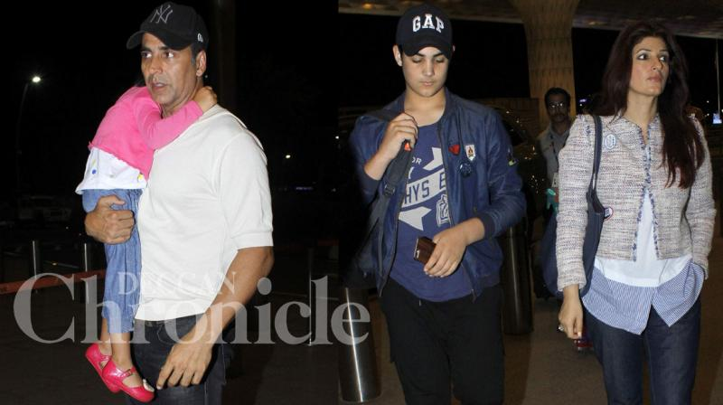 Akshay Kumar was spotted at the Mumbai airport with wife Twinkle Khanna and his two children Aarav and Nitara. Photo: Viral Bhayani
