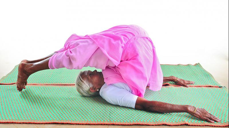 97-year-old V. Nanammal from Coimbatore, a yoga enthusiast.