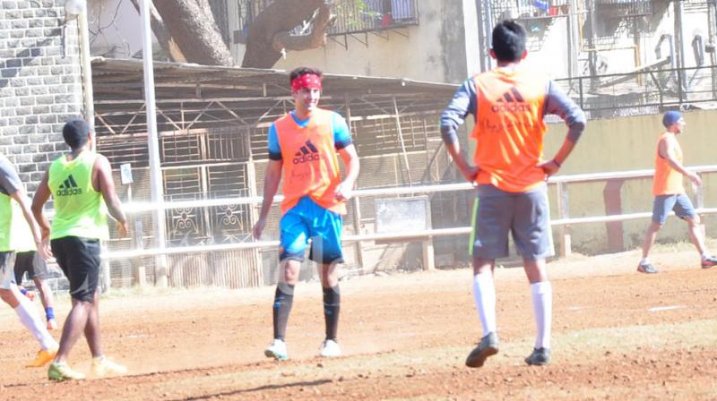 Bollywood star and football fanatic Ranbir Kapoor, was spotted at a local playground in Mumbai on Sunday. Photo: Viral Bhayani