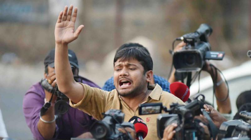 JNU students' union leader Kanhaiya Kumar outside Hyderabad Central University on Wednesday. (Photo: S. Surender Reddy)