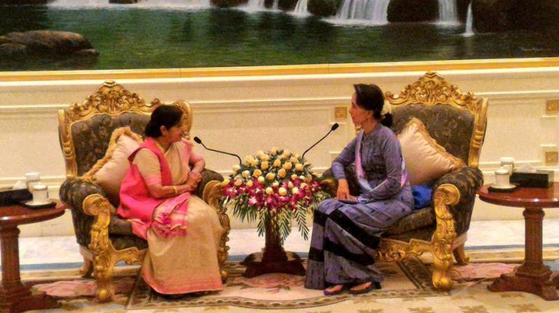 External Affairs Minister Sushma Swaraj, who arrived in Myanmar on a day-long visit, held talks with Myanmarese leaders on key bilateral issues, including cross-border activities by certain insurgent groups. (Photo: Twitter)