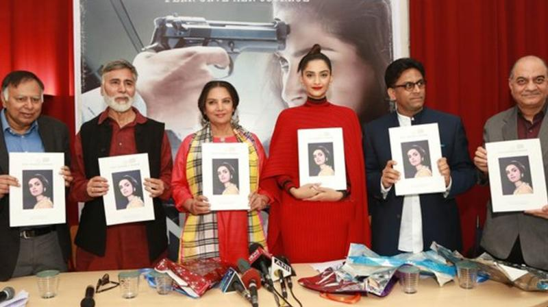 The movie team along with Neerja's brothers launched a biography on the late flight attendant. (Photo: Twitter)
