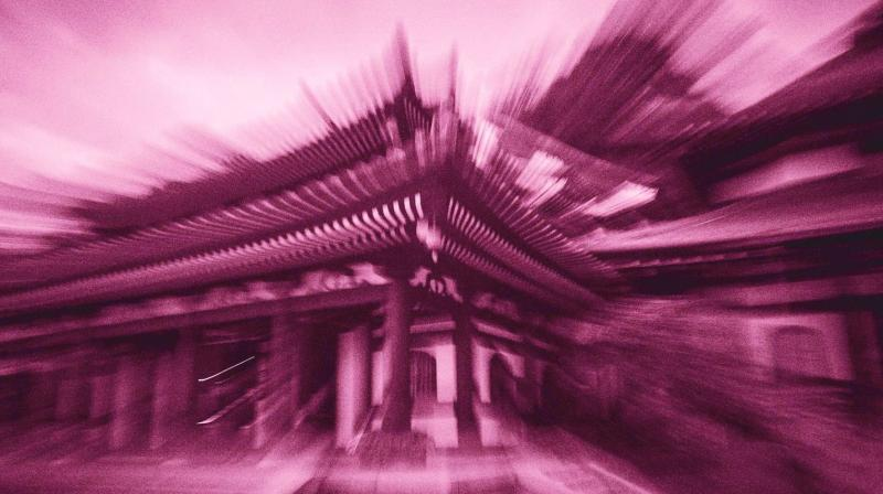 Shrestha's (left) photographs in 'Hanami' have been shot in Kamakura. He has captured temples and monasteries using zoom, burst and rotational slow shutter.