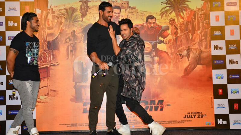 Varun Dhawan and John Abraham are leaving no stones unturned to promote their upcoming film 'Dishoom' directed by Rohit Dhawan. Photo: Viral Bhayani