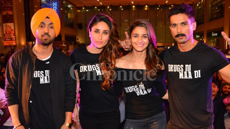 The trailer of 'Udta Punjab' was launched in the presence of entire cast including Shahid Kapoor, Kareena Kapoor Khan, Alia Bhatt and Diljit Dosanjh. Photo: Viral Bhayani