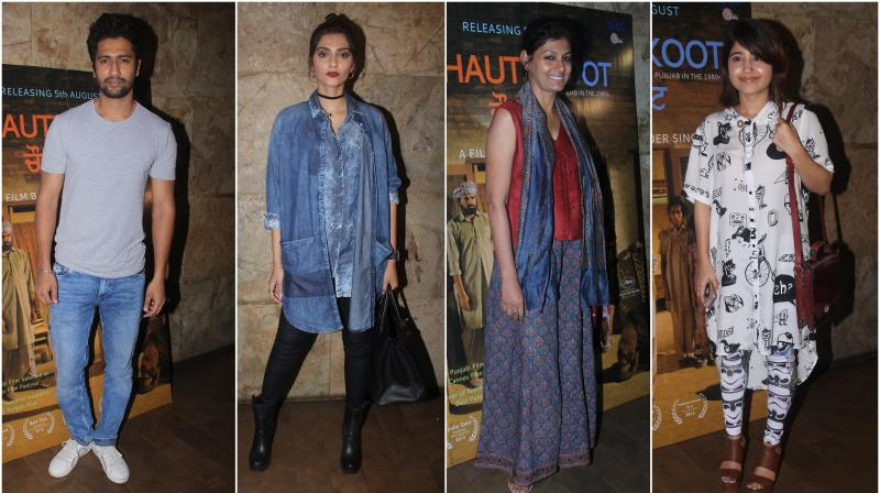 Bollywood's fashionista Sonam Kapoor along with other celebrities from the industry attended Punjabi film 'Chauthi Khoot' screening in Mumbai on Monday. (Photo: Viral Bhayani)