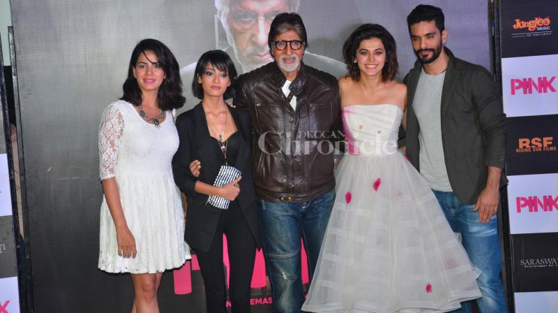 On Tuesday, Amitabh Bachchan and Taapsee Pannu along with their film's team released Pink's much awaited trailer in Mumbai. (Photo: Viral Bhayani)