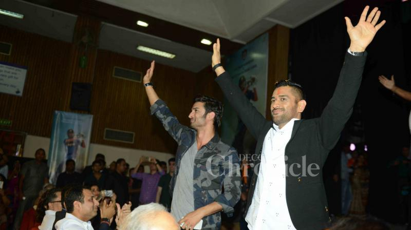 On Thursday, Sushant Singh Rajput along with Mahendra Singh Dhoni launched the trailer of 'MS Dhoni: The Untold Story' at DAV Kulachi Hansraj Model School, where the former studied. (Photo: Viral Bhayani)