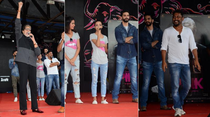 On Wednesday, Amitabh Bachchan, Kirti Kulhari, Andrea Taring, Angad Bedi and Soojit Sircar attended a college's fest in Mumbai to promote their film 'Pink'. (Photo: Viral Bhayani)