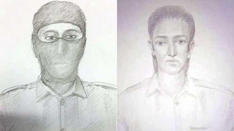 Sketches of two suspects spotted by school children near Uran Navy base. (Photo: video grab)