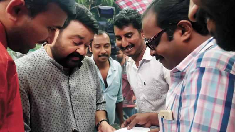 Mohanlal during the shooting of the short film on road safety. (Photo:  DC)