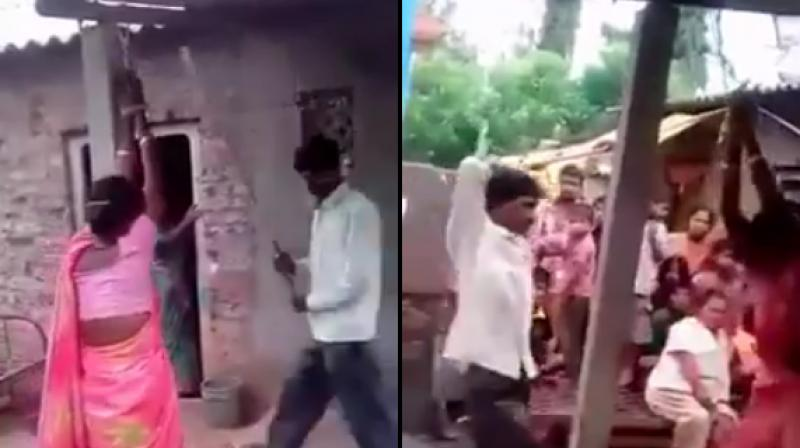 Both the woman and her alleged lover are tied to a pillar in the verandah of a house and are beaten in full public view.