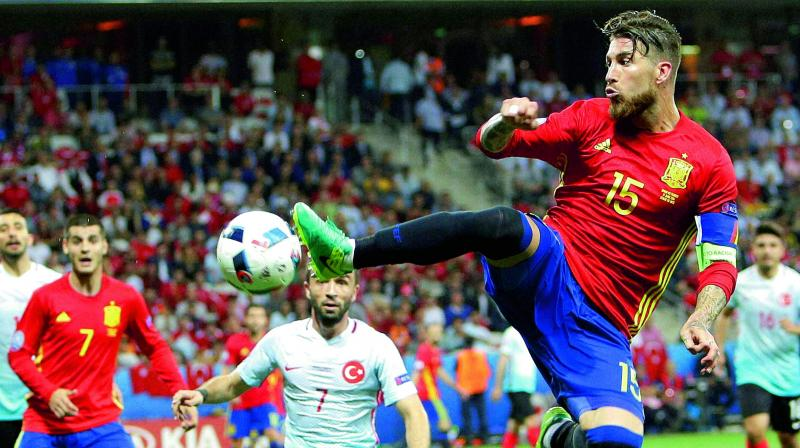 Ramos was also one of the goalscorers in the win over the Faroe Islands (Photo: AP)