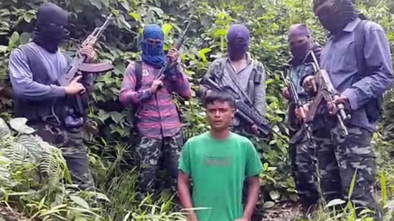 In the video, Moran's son is surrounded by five armed masked men and the footage seems to have been shot in a forest area.